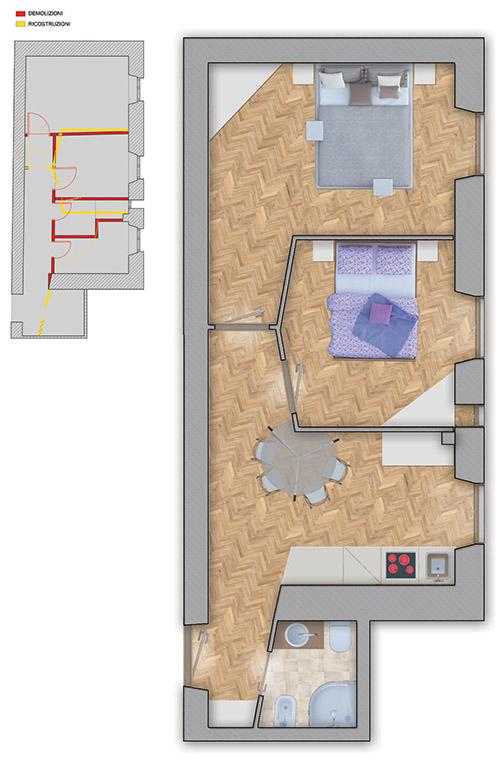 Planimetria con indicazione dei lavori di demolizione e ricostruzione che hanno portato alla planimetria di progetto definitiva